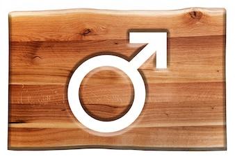 Cartel de madera con el símbolo de masculino