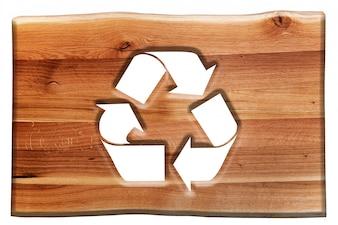 Cartel de madera con el símbolo de recicable