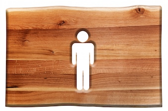 Cartel de madera con un hombre