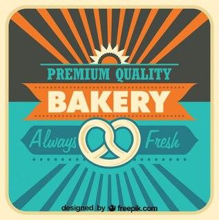 Cartel de panadería de diseño retro