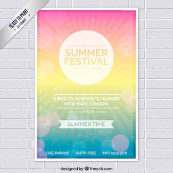 Cartel del festival de verano de colores
