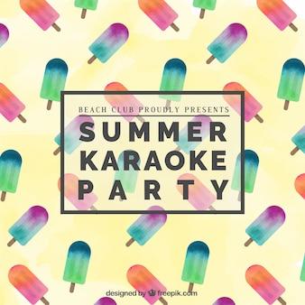 Cartel fiesta de karaoke de Verano