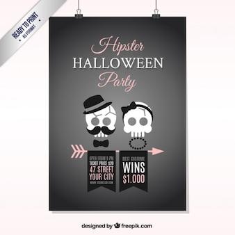 Cartel hipster de halloween