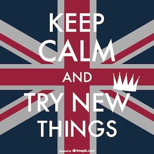 Cartel mantén la calma sobre bandera del Reino Unido