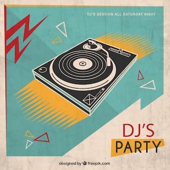 Cartel retro de fiesta dj
