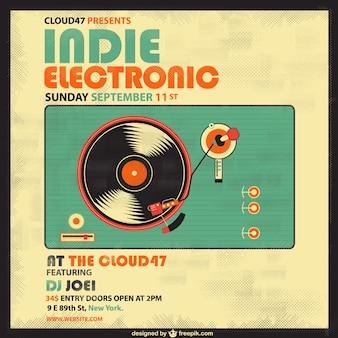 Cartel retro de música electrónica e indie