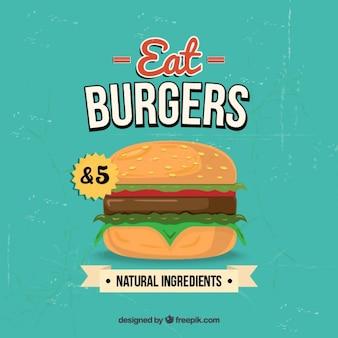 Cartel retro hamburguesa