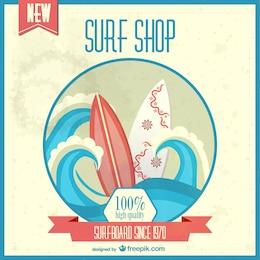 Cartel retro tienda de surf