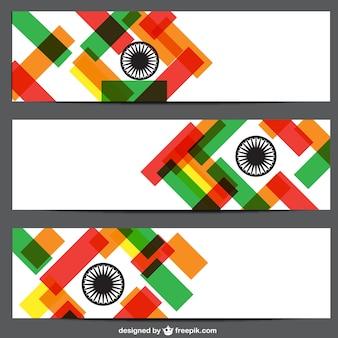 Carteles con los colores de la bandera de la India