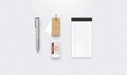 cartón goma de borrar lápiz equipo portátil psd ui