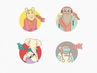 Personajes de dibujos animados de vectores animales