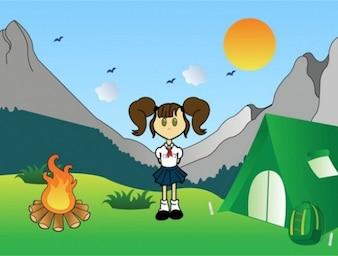 Cartoon Girl Scouts montaña gráfico vectorial