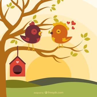 Pájaros del amor de dibujos animados en la rama