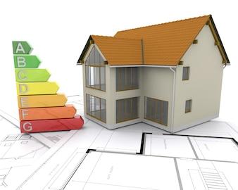 Casa 3d con puntuaciones de energía