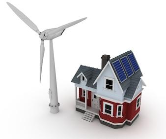 Casa con un molino de viento