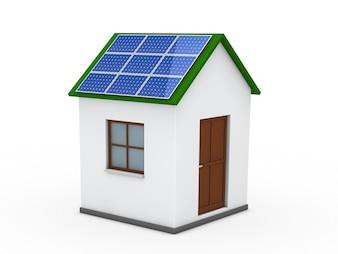 Casa con una placa solar en el techo