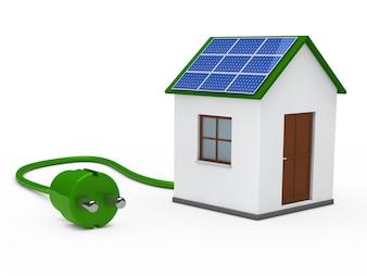 Casa con una placa solar y un enchufe verde