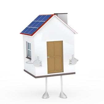 Casa en 3d mostrando los pulgares hacia arriba