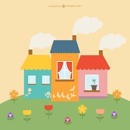 Casas y flores bonitas