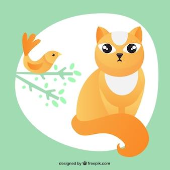 Gato y pájaro ilustración