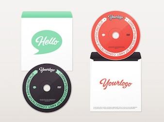 Cd y dvd maqueta sobre en dos colores