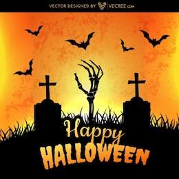 Cementerio de Halloween con murciélagos volando
