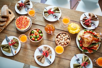 Cena abundancia servido vacaciones casera