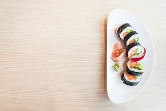Cena tradicional fondo japón sushi
