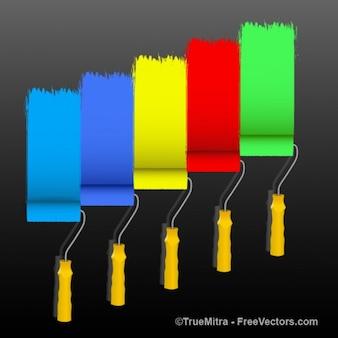 Cepillos de pintura en varios colores