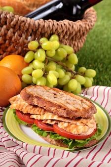 Cesta de picnic con sándwich de pollo tostado