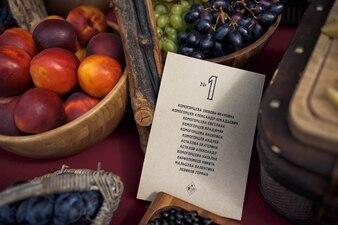 Cestos con frutas y un papel