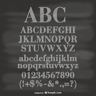 Alfabeto y números con textura de pizarra
