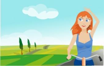 chica de la bicicleta en la primavera