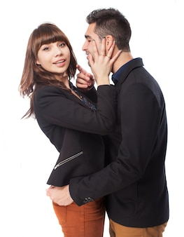 Chica parando al hombre
