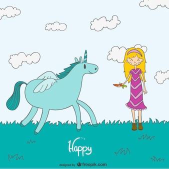 Chica rubia sonriendo y jugando con unicornio