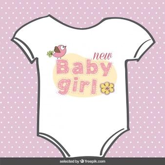 Chica traje Tarjeta de Baby Shower