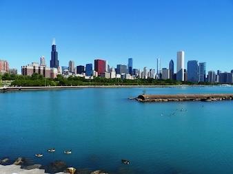 Chicago lago michigan rascacielos horizonte