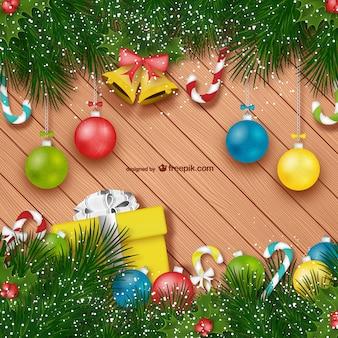 Fondo de Navidad con adornos