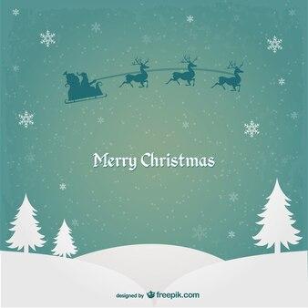 Tarjeta de Navidad con Papá Noel y renos