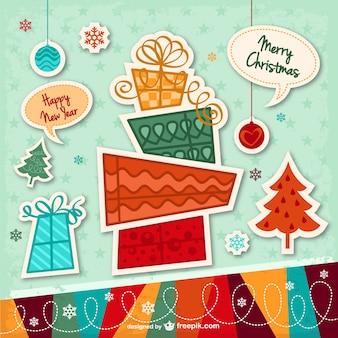Tarjeta de Navidad con pegatinas