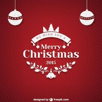 Felicitación de Navidad con el fondo de puntos de color rojo