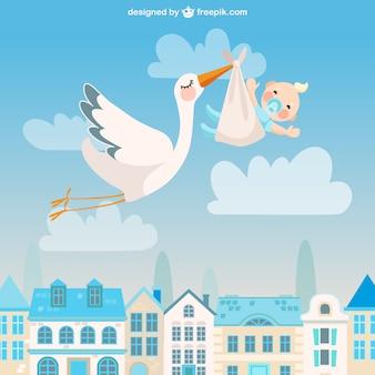 Cigüeña linda con un bebé