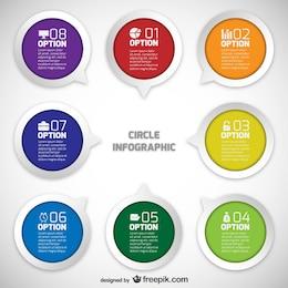 Círculos infográficos con opciones