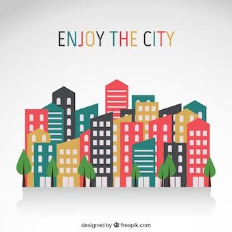 Edificios de la ciudad en diseño plano