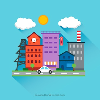 Calle de la ciudad en estilo de dibujos animados