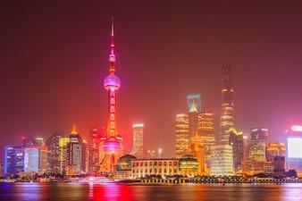 Cityscape exposición shanghai noche puente vacaciones
