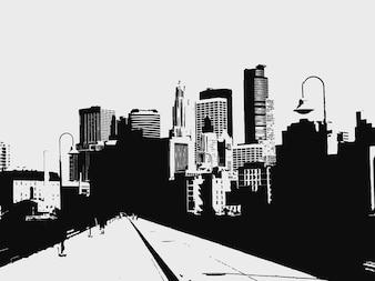Ciudad camino edificios ilustración vectorial