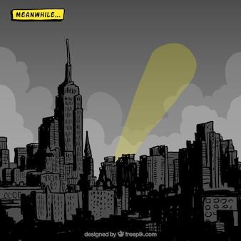 Ciudad dibujada a mano en estilo comic