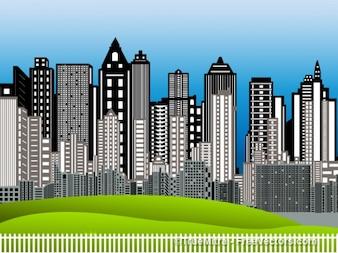 Ciudad fondo urbano de dibujos animados edificio horizonte arquitectónico de negocios inteligente