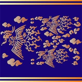 clásica china mapa auspicioso fénix vector de material